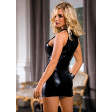 Черное платье с эффектом мокрой ткани