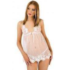 Сорочка и стринги белые с вышивкой