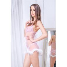 Розовая прозрачная комбинация с пухом + стринги