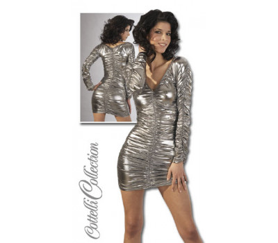Серебристое платье с рукавами