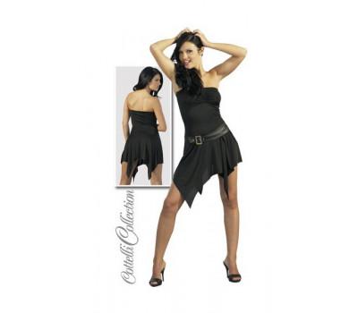 Платье черное с имитацией ремня, черное