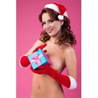 Новогодний колпак и перчатки красно-белые