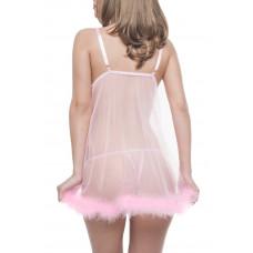 Розовая сорочка с мехом и стринги