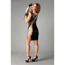 Черное платье с асимметричным разрезом на шнуровке