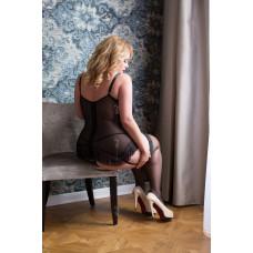 Черный корсет с пажами Christina + стринги