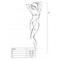 Эротический костюм-сетка с имитацией чулок Passion Erotic Line, черный