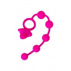 Розовое кольцо для пениса с вибрацией + стимулятор клитора + анальные шарики