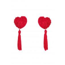 Наклейки на соски Vellya красного цвета в форме сердечек