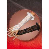Перчатки кружевные, до локтя, белые